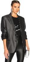 Saint Laurent Striped Tuxedo Jacket in Black,Metallics,Stripes.