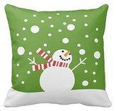 "Litaz Cotton Linen Decorative Throw Pillow Case Cushion Cover Winter Holiday Snowman 18"" x 18"""