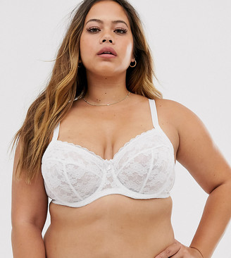 New Look Plus Curve essentials lace underwire bra in white