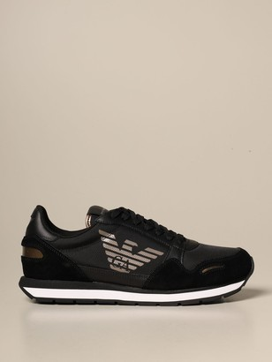 Emporio Armani Sneakers In Suede And Technical Fabric