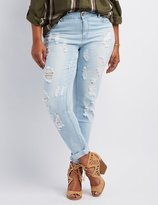 Charlotte Russe Plus Size Dollhouse Destroyed Boyfriend Jeans