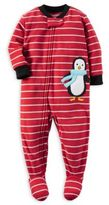 Carter's Size 12M Zip-Front Striped Penguin Fleece Footed Pajama in Red