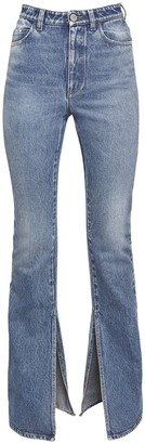 ATTICO Cotton Denim Flared Jeans W/Ankle Slits