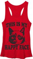 Grumpy Cat Women's Tank Tops RED - Heather Red 'Happy Face' Racerback Tank - Juniors