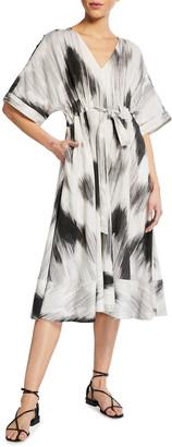 Natori Ikat Painted Midi Dress