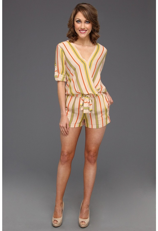 BCBGMAXAZRIA Kelly Wrap Top Romper (Parfait Combo) - Apparel