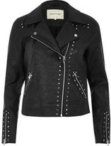 River Island Womens Black textured stud biker jacket