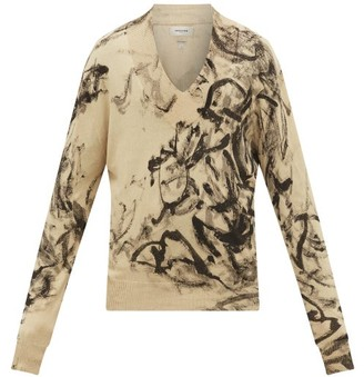 Rochas Marble-dyed V-neck Cotton-knit Sweater - Mens - Light Brown