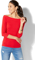 New York & Co. Tee Luxe - Bateau-Neck Shirred Top