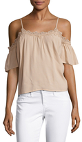 Lucca Couture Lace Trimmed Cold Shoulder Blouse