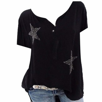 Tuduz Blouse Blouses Women TUDUZ Ladies Summer Plus Size Vintage Five-Pointed Star Hot Drill T-Shirts Gift Buttons V-Neck Baggy Casual Tunic Tops (Black XXL)
