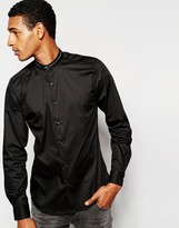 Antony Morato Grandad Shirt With Tipped Collar In Slim Fit - Black