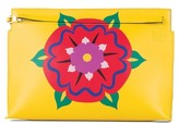 Loewe Floral Marquetry Calfskin Leather Clutch - Yellow