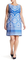 Taylor Border Print Scuba Knit Sheath Dress (Plus Size)