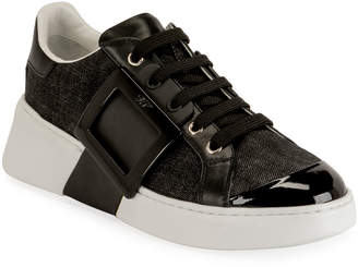 Roger Vivier Viv' Skate Lacquered Buckle Sneakers