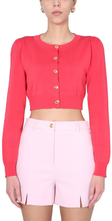 Boutique Moschino Cropped Crewneck Cardigan