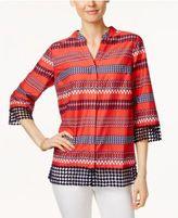 Charter Club Striped Crochet-Hem Shirt, Only at Macy's