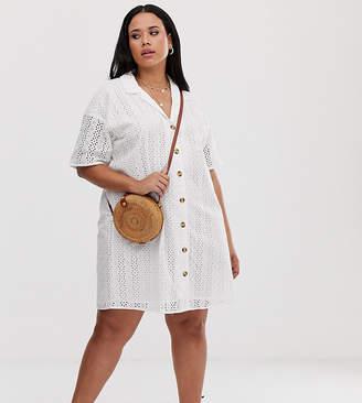 Asos DESIGN Curve button through broderie mini shirt dress-White