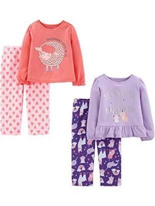 Carter's Simple Joys by Girls' Toddler 4-Piece Pajama Set (Poly Top & Fleece Bottom)