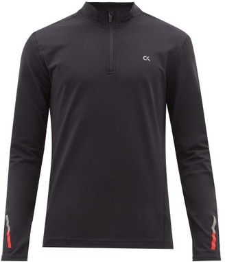 Calvin Klein Quarter-zip Technical-jersey Top - Mens - Black