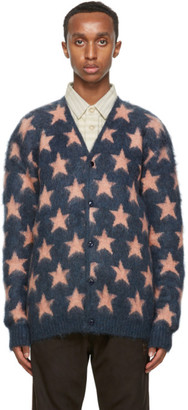 Needles Navy and Pink Mohair Star Cardigan