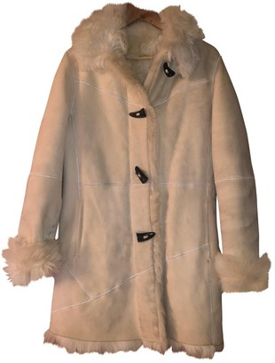 Burberry White Shearling Coat for Women Vintage