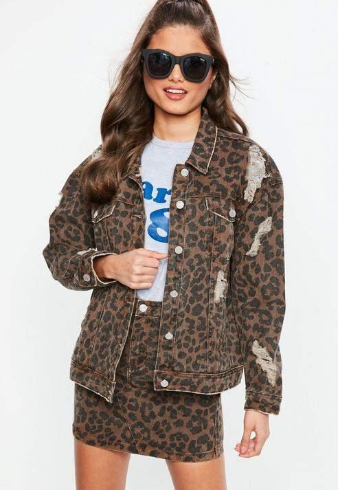 Missguided Brown Leopard Print Oversized denim Jacket, Brown