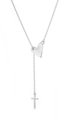 ADORNIA Heart & Cross Lariat Necklace