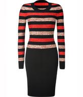 Sonia Rykiel Wool-Cotton Dress in Noir/Carmin/Brique