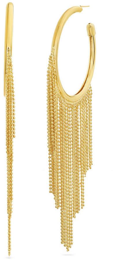 67013275f7aed Women Polished Open Circle Dangling Fringe Yellow Gold-Tone Hoop Earrings