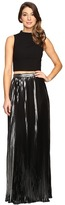 Aidan Mattox Two-Piece Crepe Halter Top with Pleated Foil Shimmer Skirt