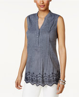 Style&Co. Style & Co Pleated Eyelet-Trim Top, Only at Macy's
