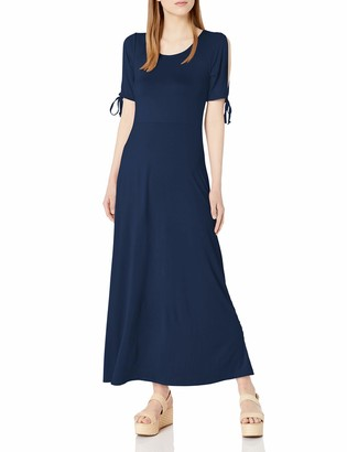 Star Vixen Women's Short/Slit Sleeve Keyhole-Back Skater Seam Maxi Dress