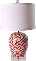 Avala Bamboo Mellon Jar Lamp, Rust/White