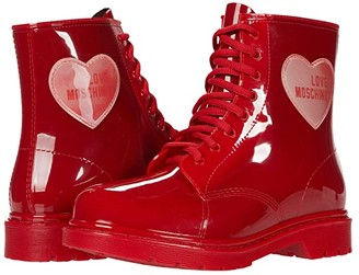 Love Moschino Lace-Up Rain Boot (Red) Women's Shoes