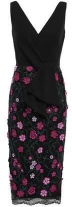 Lela Rose Crepe-paneled Metallic-trimmed Floral-appliqued Lace Dress