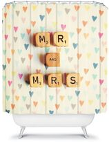 "Deny designs happee monkee ""mr. & mrs."" fabric shower curtain"