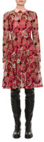 Valentino Macrame Lace Dress w/Embroidered Collar, Pink Pattern