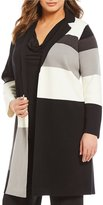 Calvin Klein Plus Color Block Open Long Sweater