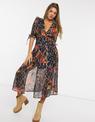 Hope & Ivy wrap midi dress with flutter sleeve in navy metallic spot