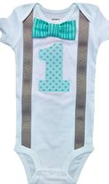 Perfect Pairz Baby Boys 1st Birthday Outfit - Aqua Tonal Stripes/DotsBodysuit
