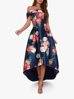 Chi Chi London Kerris High Low Floral Dress, Navy