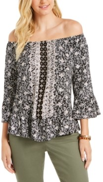Style&Co. Style & Co Printed Convertible-Neck Top, Created for Macy's