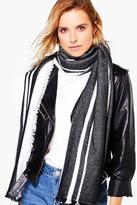 Boohoo Lydia Varied Stripe Wool Oversize Scarf