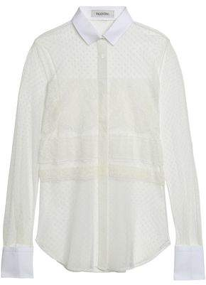 Valentino Pique-trimmed Lace And Point D'esprit Shirt