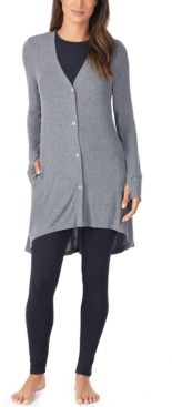 Cuddl Duds Petite Softwear With Stretch Ribbed Cozy Cardigan