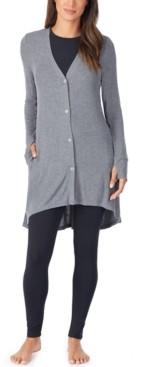 Cuddl Duds Softwear With Stretch Ribbed Cozy Cardigan