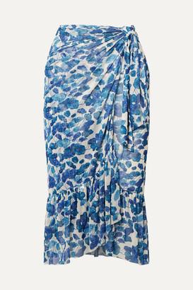 Adriana Degreas Ruffled Floral-print Mesh Pareo - Blue