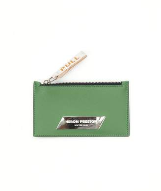 Heron Preston silver plaque zip card holder green