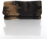 Moyna Brown Black Beaded Material Zipper Flap Closure Clutch Handbag